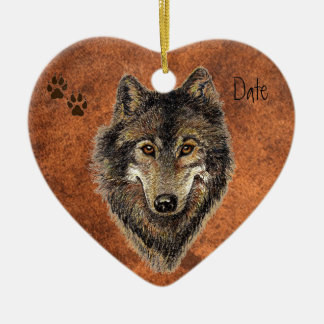 Dated Custom, Wolf, Wolves & Tracks Animal Ceramic Heart Decoration