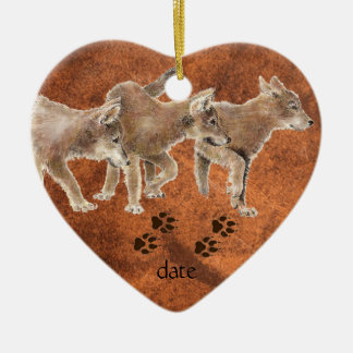 Dated Custom, Wolf, Wolves & Tracks Animal Christmas Ornament