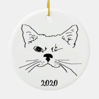 Dated Cute Smiling Winking Cat Drawing Christmas Ornament