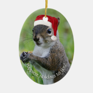 Dated Florida Santa Squirrel™ Happiest Holidays Ceramic Oval Decoration
