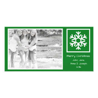 Dated Lone Snowflake Christmas Picture (Green) Personalized Photo Card