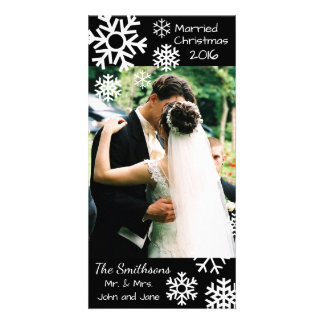 Dated Multiple Snowflakes Married Christmas (Black Photo Card Template