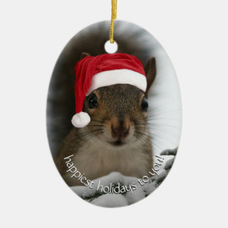 Dated Santa Squirrel™ Happiest Holidays Ceramic Oval Decoration