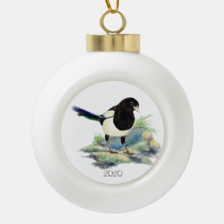 Dated Watercolor Magpie Bird Nature Art Ceramic Ball Christmas Ornament