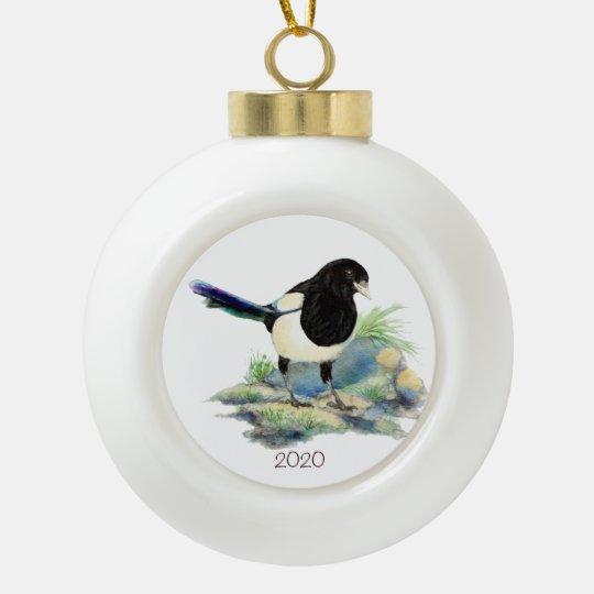 Dated Watercolor Magpie Bird Nature Art Ceramic Ball