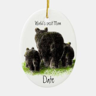 Dated, World's Best Mom Cute Black Bear Christmas Ornament