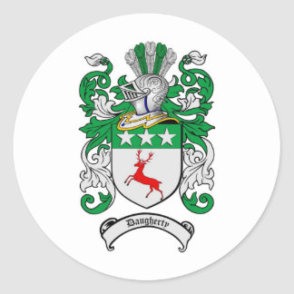 DAUGHERTY FAMILY CREST -  DAUGHERTY COAT OF ARMS ROUND STICKER