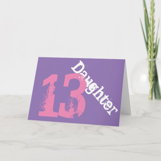 Daughter 13th Birthday White Pink On Purple Card