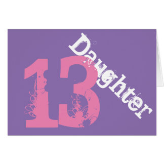 Daughter, 13th birthday, white, pink on purple. cards