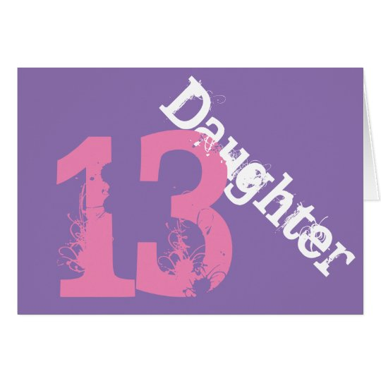 Daughter, 13th birthday, white, pink on purple. card