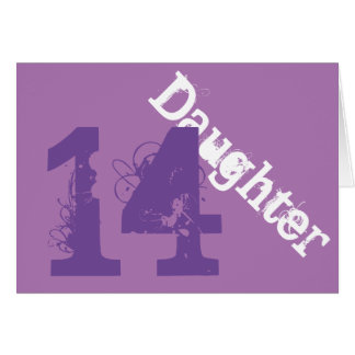 Daughter, 14th birthday, white, purple on purple. cards