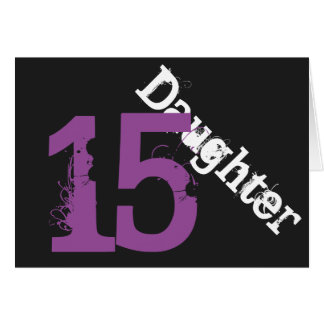 Daughter, 15th birthday, white, purple on black. card