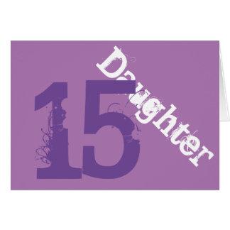 Daughter, 15th birthday, white, purple on purple. card