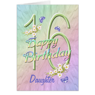 Daughter 16th Birthday Butterfly Garden Card