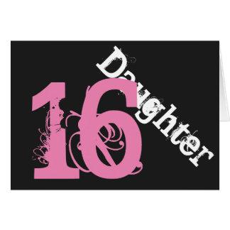 Daughter, 16th birthday, white, pink on black. card