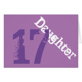 Daughter, 17th birthday, white, purple on purple. greeting cards