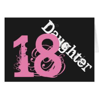 Daughter, 18th birthday, white, pink on black. greeting card