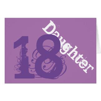 Daughter, 18th birthday, white, purple on purple. greeting cards