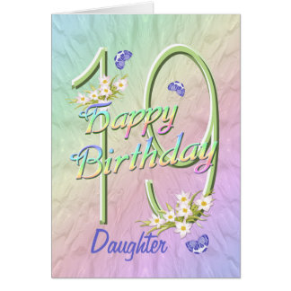 Daughter 19th Birthday Butterfly Garden Card