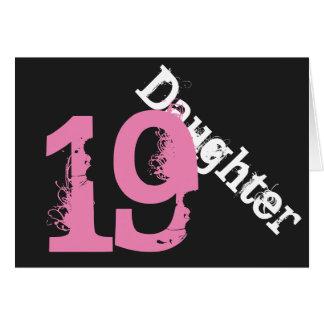 Daughter, 19th birthday, white, pink on black. greeting card