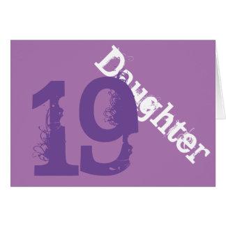 Daughter, 19th birthday, white, purple on purple. greeting card