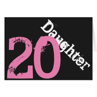 Daughter, 20th birthday, white, pink on black. greeting cards