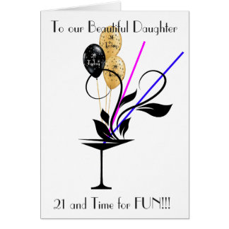 DAUGHTER 21ST BIRTHDAY GREETING CARD