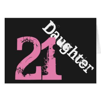 Daughter, 21st birthday, white, pink on black. card