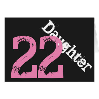 Daughter, 22nd birthday, white, pink on black. greeting cards