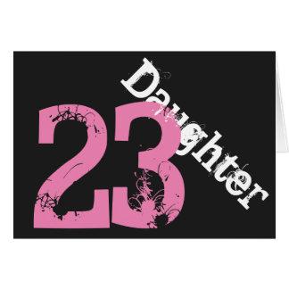 Daughter, 23rd birthday, white, pink on black. greeting card