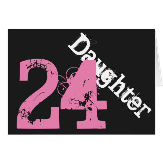 Daughter, 24th birthday, white, pink on black. cards
