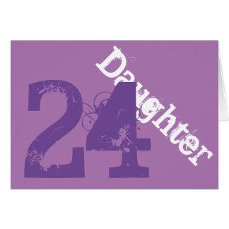 Daughter, 24th birthday, white, purple on purple. greeting cards