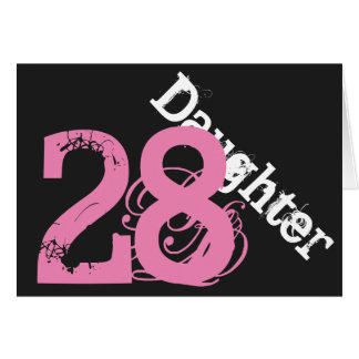 Daughter, 28th birthday, white, pink on black. greeting cards