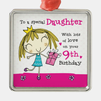 Daughter 9th Birthday cute pink princess age 9 Christmas Ornament