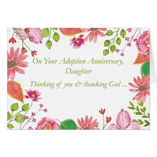 Daughter Adoption Anniversary Watercolor Flowers R Card