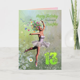 Daughter Age 13 Flower Fairy Birthday Card