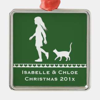 Daughter and Cat: Little Girl and her Kitty Christmas Ornament