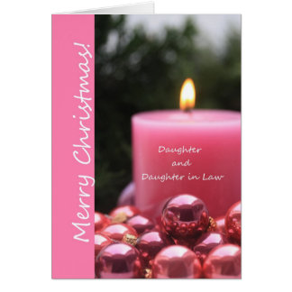 Daughter and Daughter in Law pink gay christmas Greeting Card