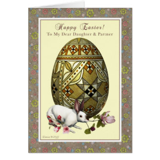Daughter and Partner Easter - Egg and Bunny Greeting Card