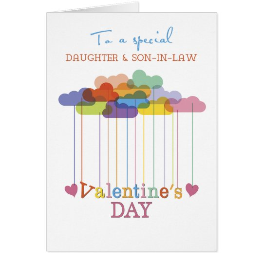 Daughter and Son-in-Law Valentine Rainbow Clouds Card