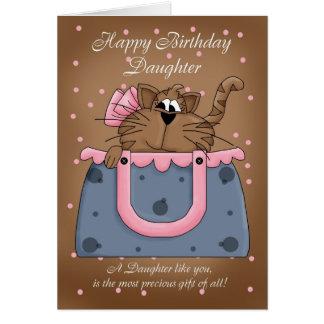 Daughter Birthday Card - Cute Cat Purse Pet
