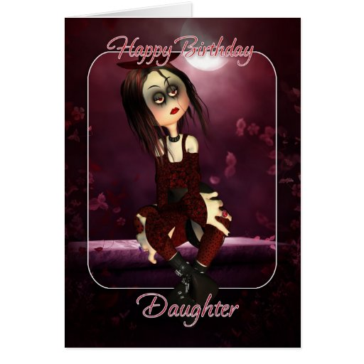 Daughter Birthday Card - Moonies Rag Doll Goth - G