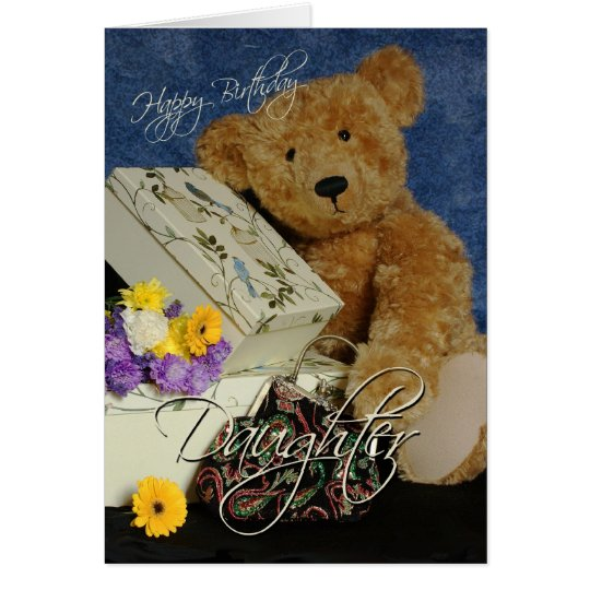 Daughter Birthday Card with cute Bear boxes purse
