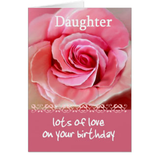 DAUGHTER Birthday with Pastel Pink Rose and Lace Greeting Card