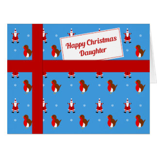 Daughter blue Christmas parcel Big Greeting Card