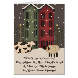 Daughter & Boyfriend 1st Christmas in New Home Greeting Card