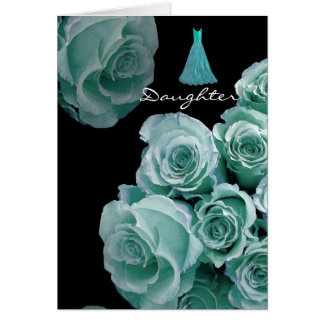 DAUGHTER - Bridesmaid Turquoise Blue Roses & Dress Card