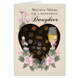 Daughter Chocolates Wine And Flower Birthday Greet Card