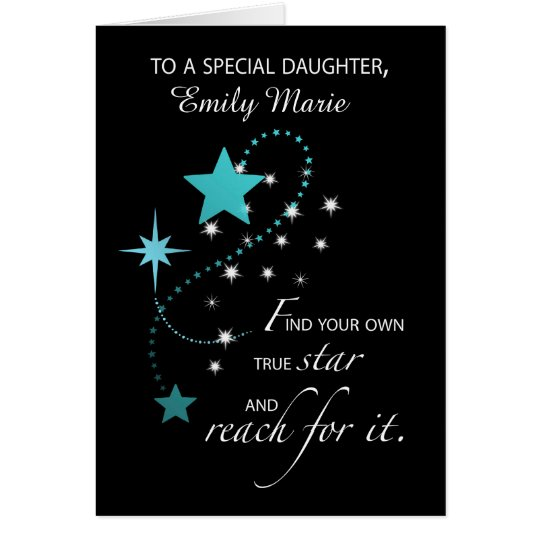 Daughter Customisable Name, Aqua Graduation Star Card