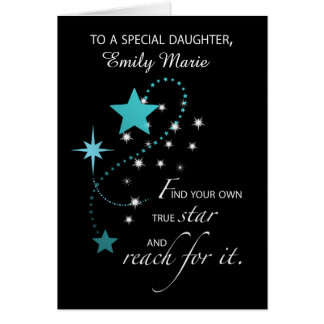 Daughter Customizable Name, Aqua Graduation Star Greeting Card